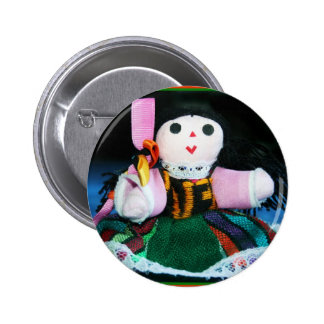 Muñeca mexicana del paño chapa redonda de 5 cm