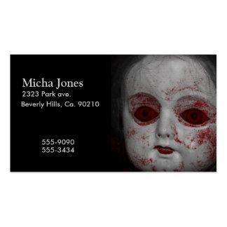 Muñeca pálida de la piel con los ojos rojos sangre tarjetas de visita