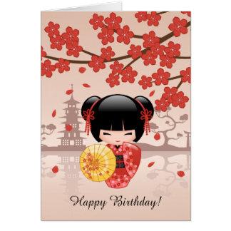 Muñeca roja de Sakura Kokeshi, cumpleaños lindo Tarjeta De Felicitación