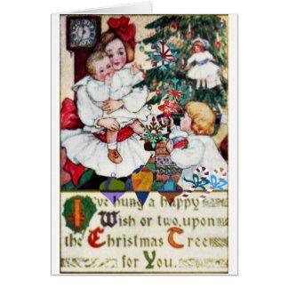 Muñecas de los chicas de la tarjeta de Navidad de