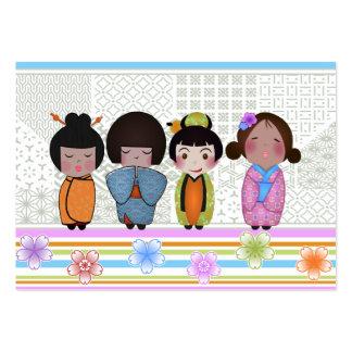 muñecas del kokeshi tarjetas de visita grandes
