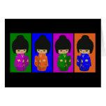 Muñecas lindas de Kokeshi del arte pop Felicitaciones