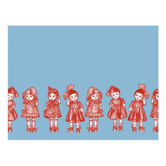 Muñecas pasadas de moda postal