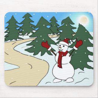 Muñeco de nieve 2013 del saludo tapetes de ratón