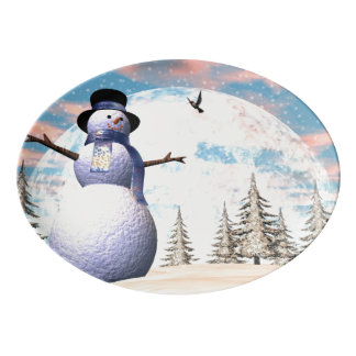 Muñeco de nieve - 3D rinden Bandeja De Porcelana