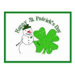 Muñeco de nieve afortunado del día de St Patrick Tarjeta Postal