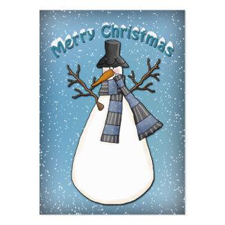 Muñeco de nieve caprichoso con el gorra tarjetas de visita