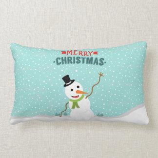 Muñeco de nieve caprichoso feliz el día de navidad cojín