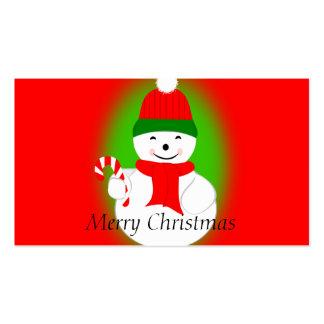 Muñeco de nieve con el bastón de caramelo tarjetas de visita