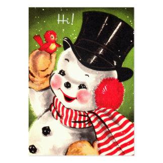 Muñeco de nieve con el pájaro tarjetas de visita