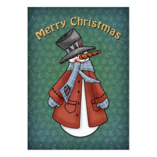 Muñeco de nieve con la capa, la bufanda y el gorra tarjetas de visita grandes