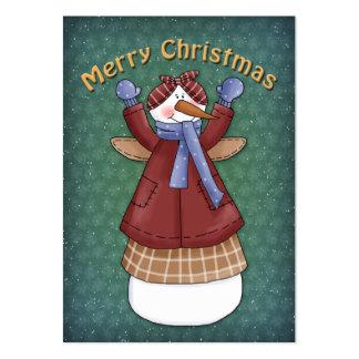 Muñeco de nieve con la capa, la bufanda y las alas tarjetas de visita grandes