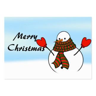 Muñeco de nieve con manoplas rojas y una bufanda tarjetas de visita grandes