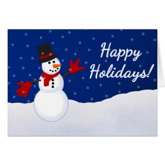Muñeco de nieve con te amo la tarjeta de Navidad