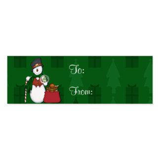 Muñeco de nieve con un bolso lleno de presentes tarjetas de visita mini