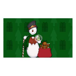 Muñeco de nieve con un bolso lleno de presentes tarjetas de negocios