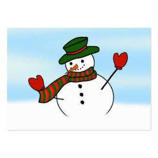 Muñeco de nieve con un gorra verde plantillas de tarjetas personales