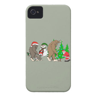 Muñeco de nieve de Bigfoot Santa Carcasa Para iPhone 4 De Case-Mate