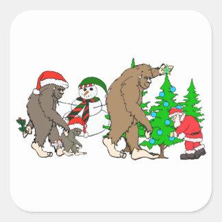 Muñeco de nieve de Bigfoot Santa Pegatina Cuadrada