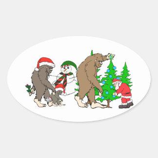 Muñeco de nieve de Bigfoot Santa Pegatina Ovalada