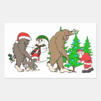 Muñeco de nieve de Bigfoot Santa Pegatina Rectangular