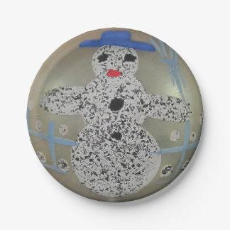 Muñeco de nieve de cristal de la bola del navidad plato de papel