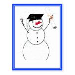 Muñeco de nieve de graduación para el pequeño postal
