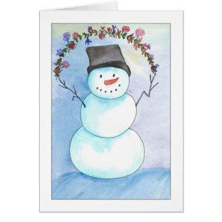 Muñeco de nieve de la acuarela con la tarjeta