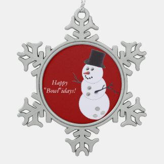Muñeco de nieve de la bola de bolos adorno de peltre en forma de copo de nieve