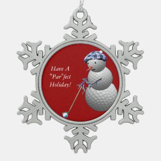 Muñeco de nieve de la pelota de golf adorno de peltre en forma de copo de nieve