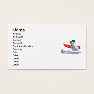 muñeco de nieve de la persona que practica surf tarjeta de visita