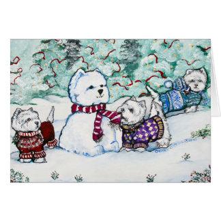 Muñeco de nieve de Terrier blanco de montaña del o Felicitacion