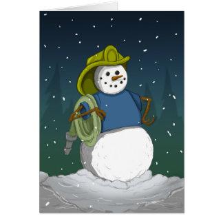 Muñeco de nieve del bombero tarjeta