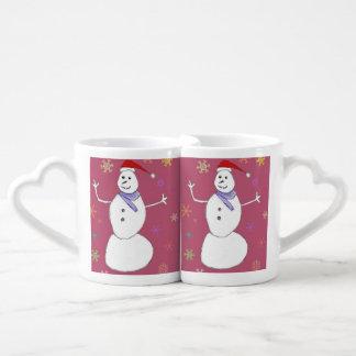 Muñeco de nieve del navidad tazas para enamorados