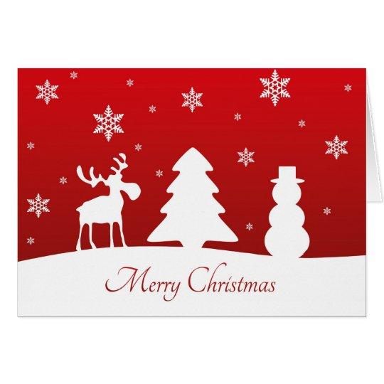 Muñeco de nieve del reno del árbol de navidad - tarjeta de felicitación