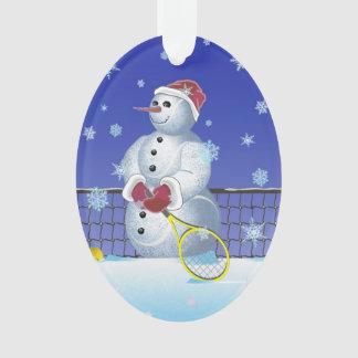 Muñeco de nieve del tenis, buenas fiestas adorno