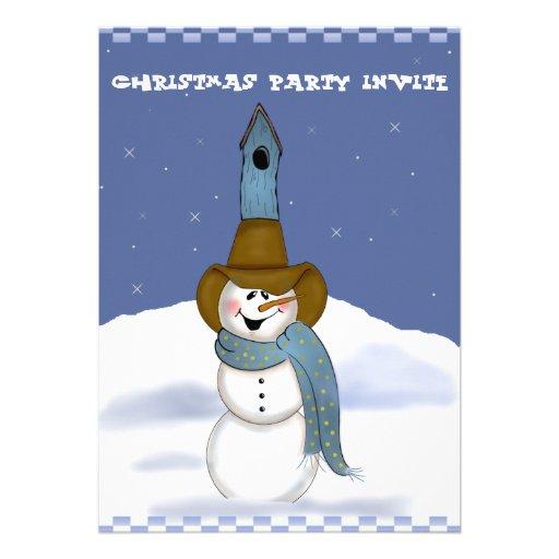 Muñeco de nieve del vaquero con el Birdhouse Invitación