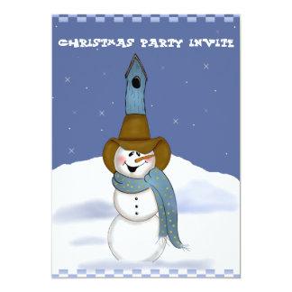 Muñeco de nieve del vaquero con el Birdhouse Invitación 12,7 X 17,8 Cm