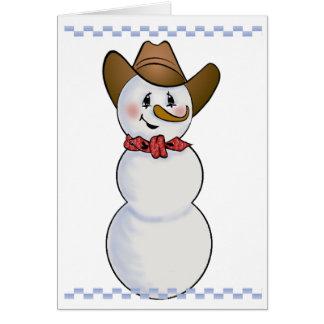 Muñeco de nieve del vaquero con el pañuelo rojo tarjeta de felicitación
