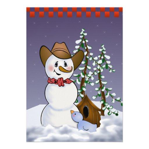 Muñeco de nieve del vaquero en pañuelo rojo invitación