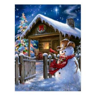 Muñeco de nieve del vaquero postal