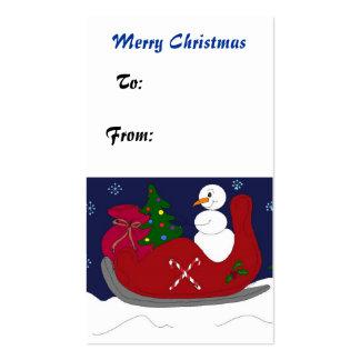 Muñeco de nieve delicioso en un trineo tarjetas de visita