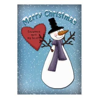 Muñeco de nieve divertido con el corazón rojo tarjetas de visita grandes