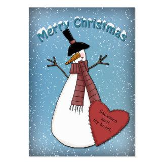 Muñeco de nieve divertido con el corazón tarjeta de visita