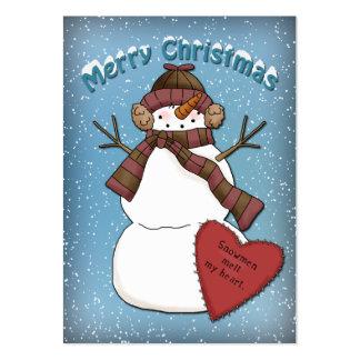 Muñeco de nieve divertido con el corazón tarjetas de visita grandes