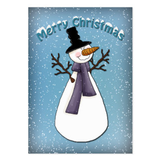 Muñeco de nieve divertido con el gorra y la tarjetas de visita grandes