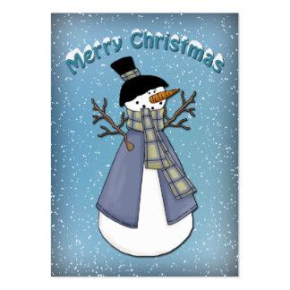 Muñeco de nieve divertido con la bufanda tarjeta de visita