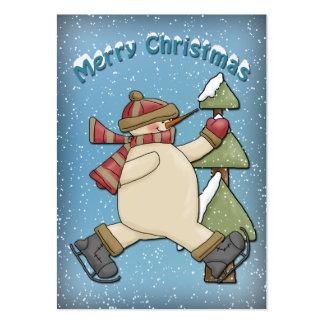 Muñeco de nieve divertido con la bufanda y el tarjetas de visita grandes