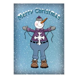 Muñeco de nieve divertido con la estrella tarjetas de visita grandes