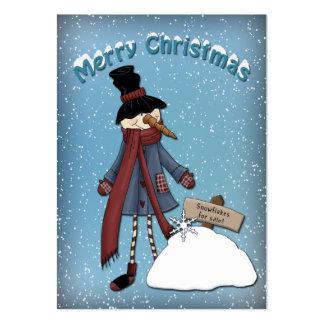 Muñeco de nieve divertido con los copos de nieve tarjetas de visita grandes
